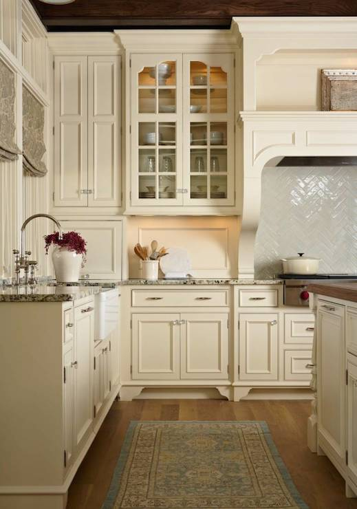 Cream cabinets transitional kitchen murphy co design for Almond colored kitchen cabinets