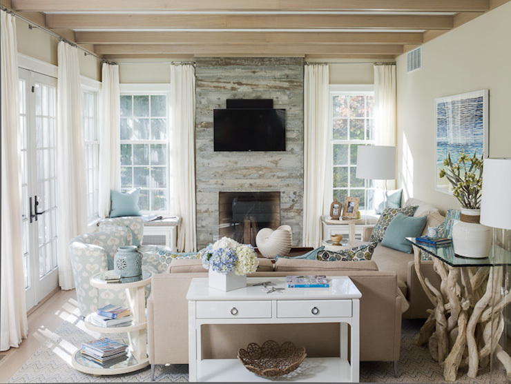 Cottage Living Room With Fireplace reclaimed wood fireplace - cottage - living room - liz levin interiors