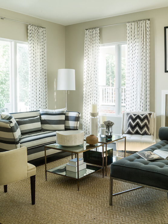 Striped Sofa Transitional Living Room Liz Levin