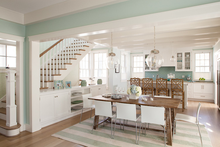 Green Dining Rooms - Cottage - dining room - Liz Levin Interiors