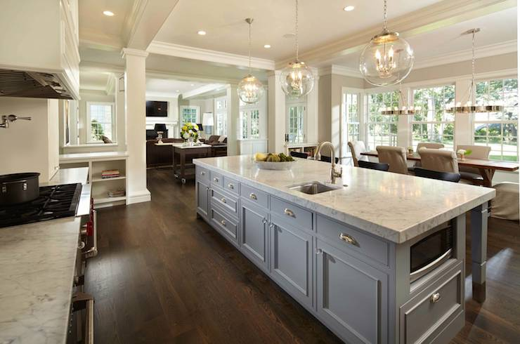 Long kitchen islands transitional kitchen murphy for Long kitchen ideas