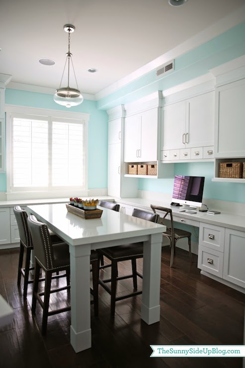 Aqua Paint Colors Transitional Den Library Office