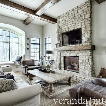 Stacked Stone Fireplace, Transitional, living room, Veranda Interiors