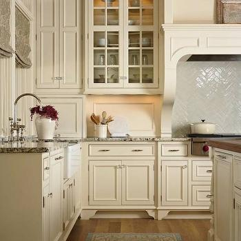 Herringbone Subway Tile Stove Backsplash Transitional