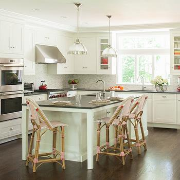 Pink Bistro Counter Stools, Transitional, kitchen, Dearborn Cabinetry