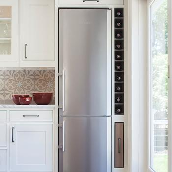 Space Saving Refrigerator, Transitional, kitchen, Benjamin Moore White Dove, Dearborn Cabinetry