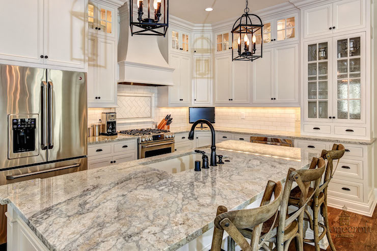 Gray Granite Countertops Transitional Kitchen