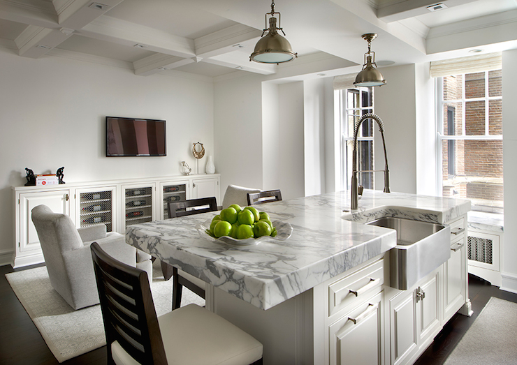 Thick Marble Countertops Transitional Kitchen