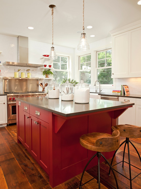 Red Kitchen Island Transitional Kitchen Benjamin