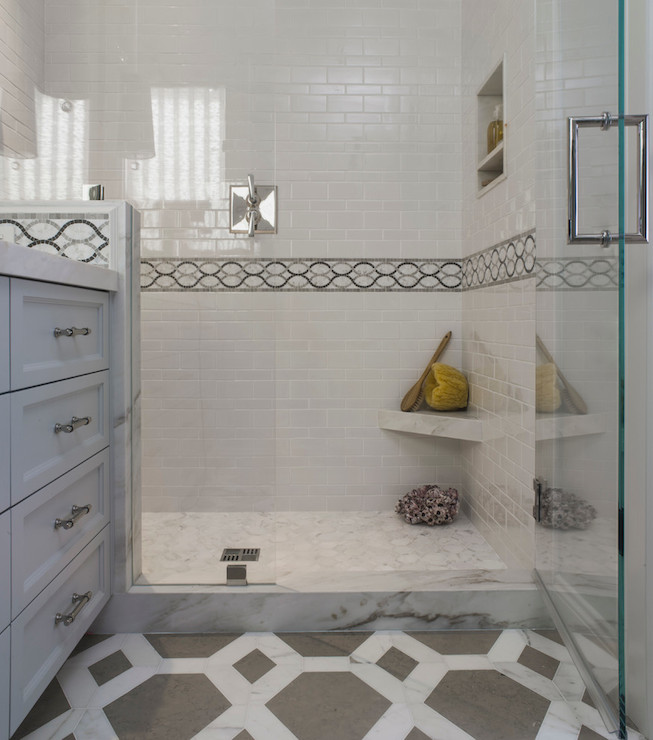 Shower Ledge Ideas Transitional Bathroom Angela Free