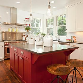 Red Kitchen Island, Transitional, kitchen, Benjamin Moore Caliente, Refined LLC