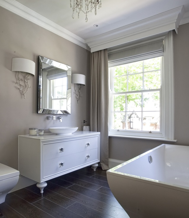 White and taupe bathrooms transitional bathroom for What kind of paint to use on kitchen cabinets for art deco wall sconces lighting