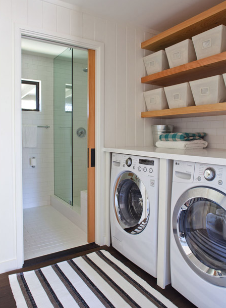 The container store open canvas bins transitional for Open shelving laundry room