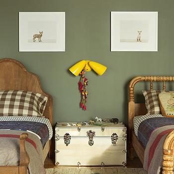 Shared Kids Room, Transitional, boy's room, Benjamin Moore Caldwell Green, Reath Design
