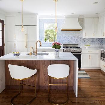 Aquias Blue Quartzite, Contemporary, kitchen, Benjamin Moore Snowfall, Design Manifest