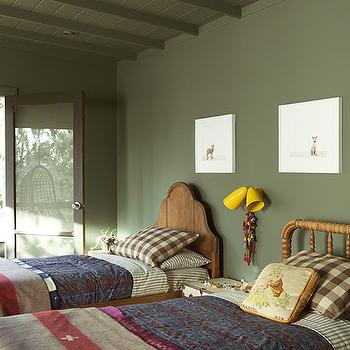 Mismatched Kids Beds, Transitional, boy's room, Benjamin Moore Caldwell Green, Reath Design