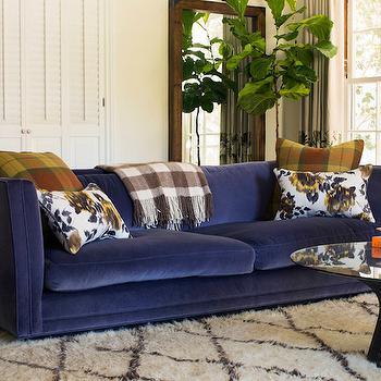 Blue Velvet Sofa, Eclectic, living room, Reath Design