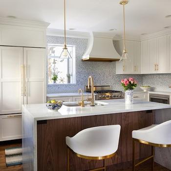 Waterfall Island Countertop, Contemporary, kitchen, Benjamin Moore Snowfall, Design Manifest