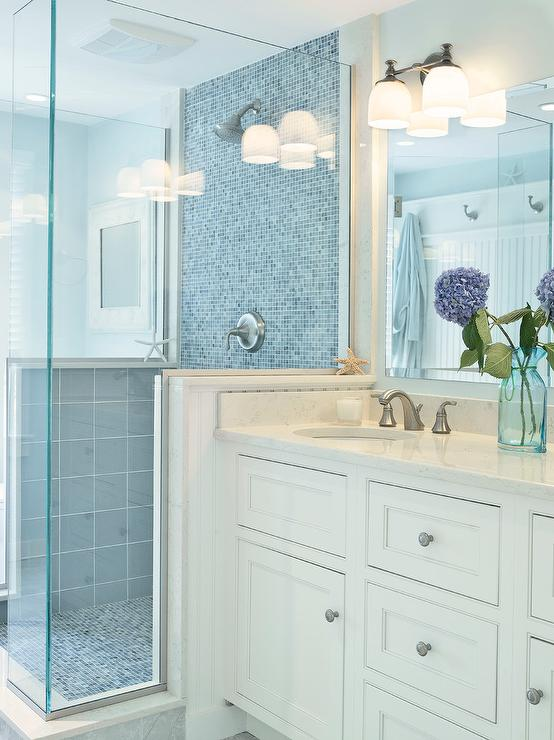 Blue Mosaic Tile Shower Cottage Bathroom Sherwin