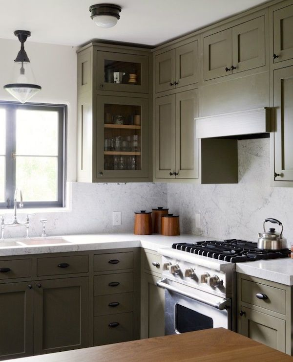 Pendant over kitchen sink design ideas for Grey green kitchen cabinets