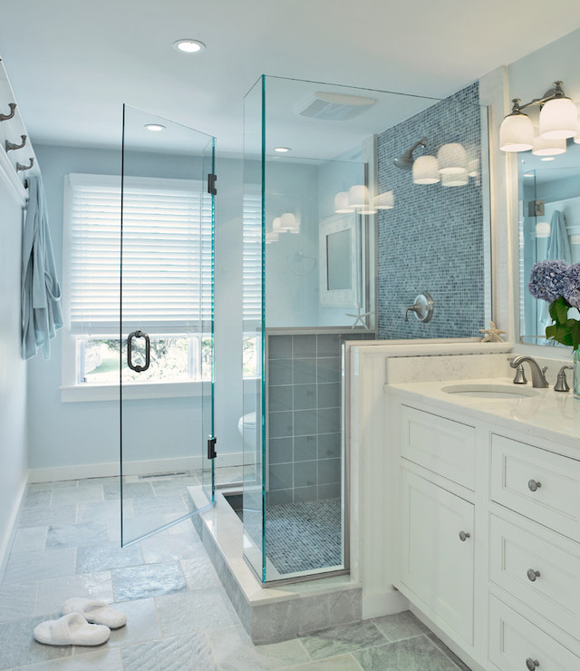 Blue glass shower tiles transitional bathroom donna elle interior design - Bathroom decorating ideas blue walls ...