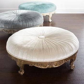 Green Button Tufted Large Round Velvet Storage Ottoman