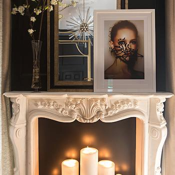 French Marble Fireplace Filled With Candles French