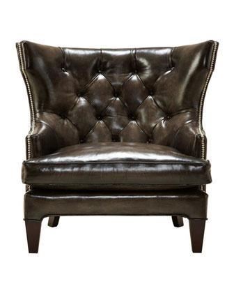 quincy tufted brown leather wingback chair - Leather Wingback Chair