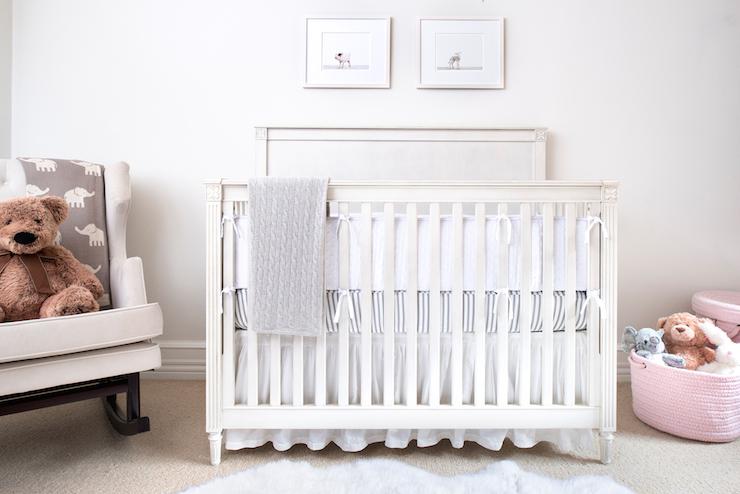 White And Gray Crib Bedding Transitional Nursery Ae Design