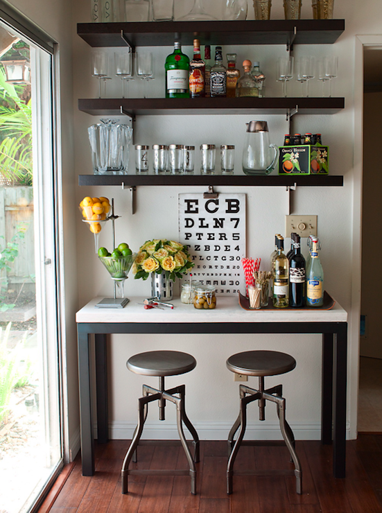 Console table bar design ideas for Home bar decor
