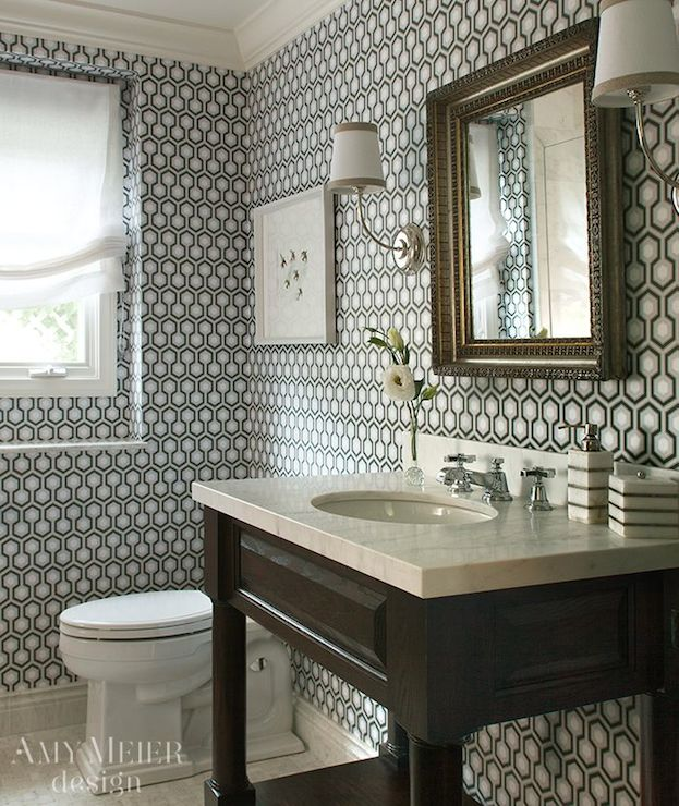 Hicks Hexagon Wallpaper Contemporary Bathroom Amy