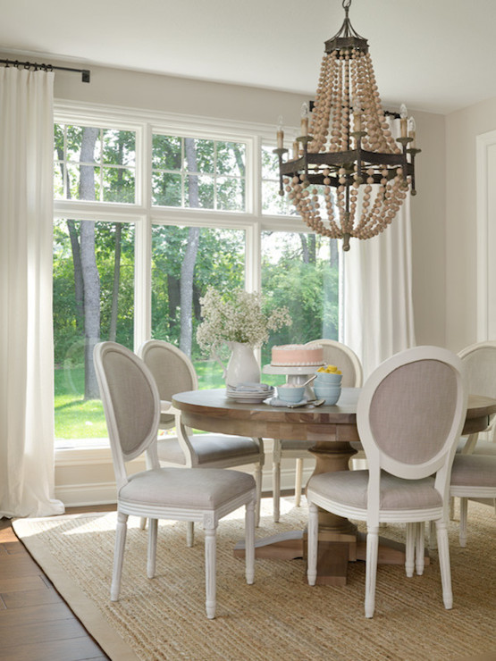 Gray french dining chairs transitional dining room for Dining room window designs