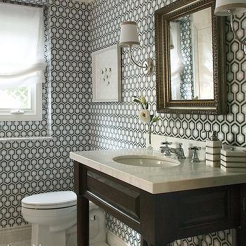 Hicks Hexagon Wallpaper, Contemporary, bathroom, Amy Meier Design