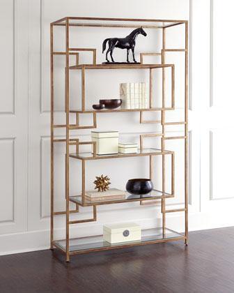 lamar 7 shelf etagere gold leaf with glass shelves. Black Bedroom Furniture Sets. Home Design Ideas