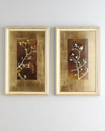 Brown And White Leaf Wall Art