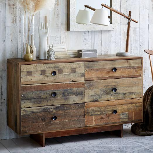 Emmerson Reclaimed Wood 6 Drawer Brown Dresser
