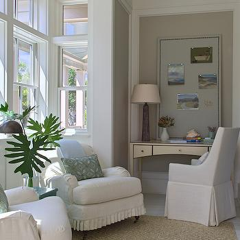 Sunroom Office, Cottage, den/library/office, Urban Grace Interiors