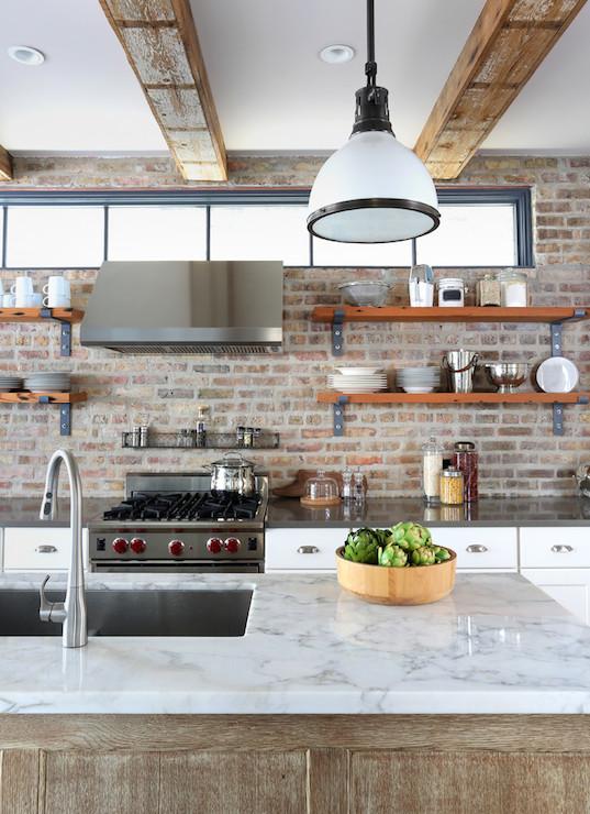 amusing industrial kitchen brick wall   Quick Kitchen Makeover   Design Style