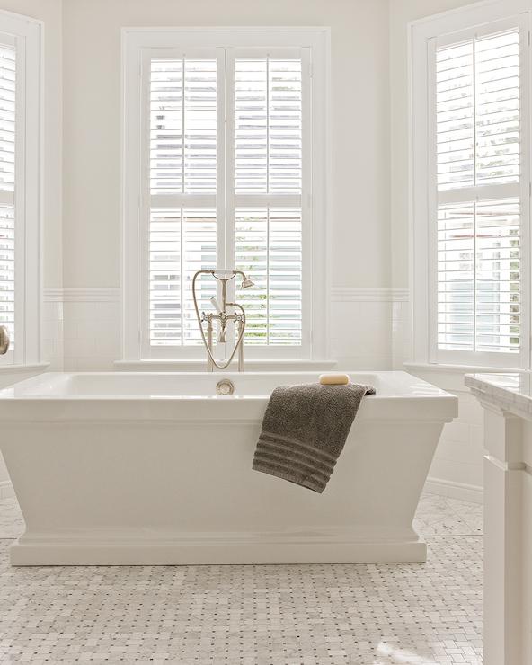 Bathtub in bay window transitional bathroom brookes for Bay window bathroom ideas