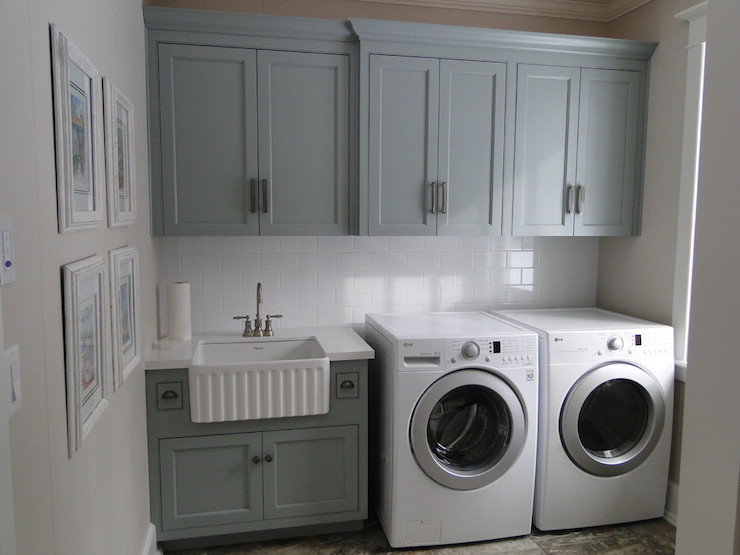 Gray green paint colors contemporary laundry room for Grey green kitchen cabinets