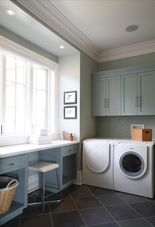 Gray Green Paint Colors Contemporary Laundry Room Benjamin Moore Piedmo