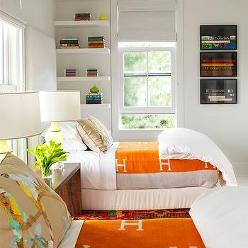 Hermes Blankets, Transitional, bedroom, House Beautiful