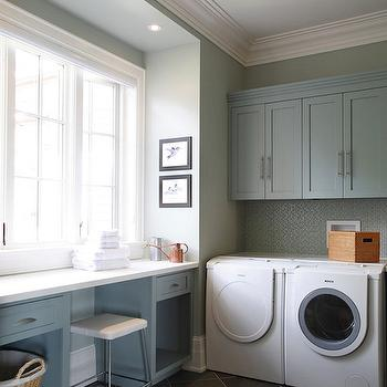 Gray Green Paint Colors, Contemporary, laundry room, Benjamin Moore Piedmont Gray, Cranberry Hill Kitchens