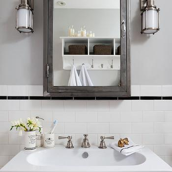 Black And White Cottage Bathroom With Soapstone Countertop