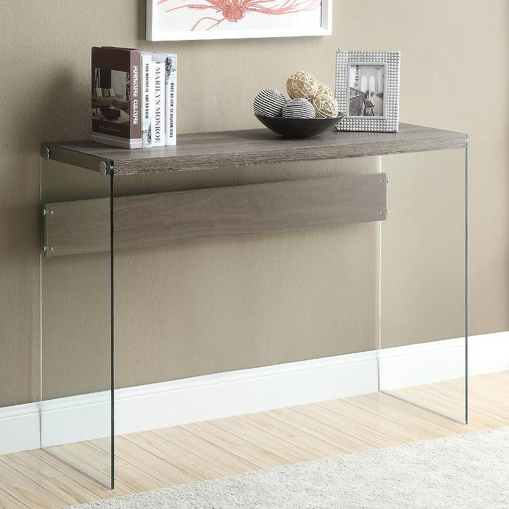 gray modern console table with metal legs