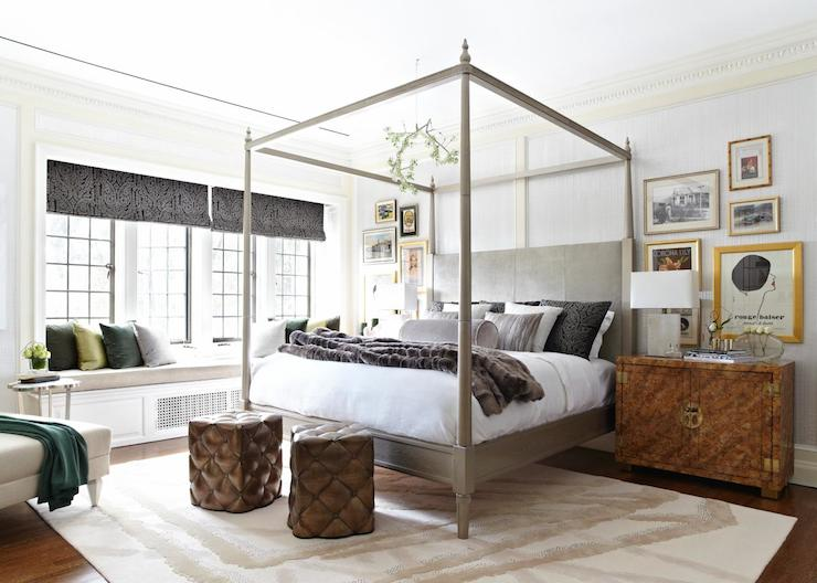 gray canopy bed
