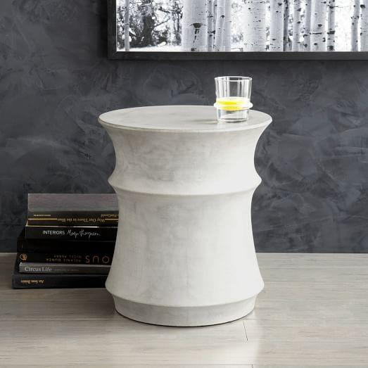 Sculpted white drum side table for Drum side table