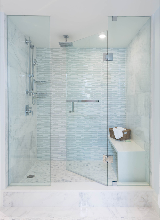 Waterfall edge shower seat design ideas for Huge walk in shower