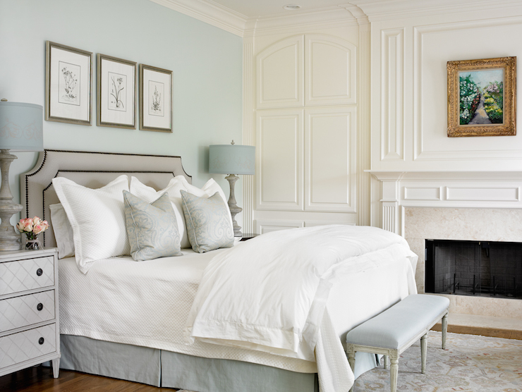 Blue and gray bedrooms transitional bedroom farrow - Farrow and ball decoration ...