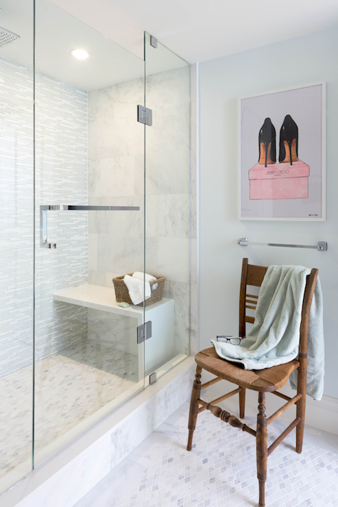 Waterfall Shower Bench Transitional Bathroom Rebecca